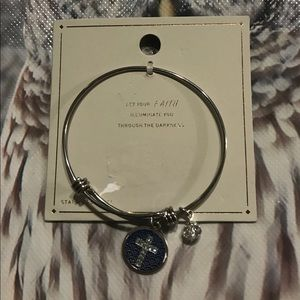 Let Your Faith Expandable Charm Bangle Bracelet